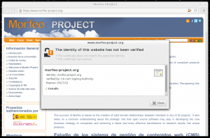 Epiphany showing an invalid certificate
