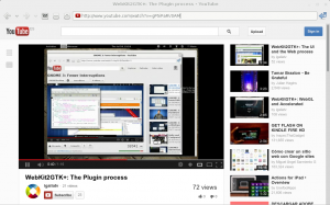 MiniBrowser showing a youtube video using flash plugin