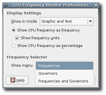 CPUFreq Applet Preferences dialog