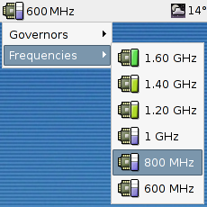 Frequencies and governors menu