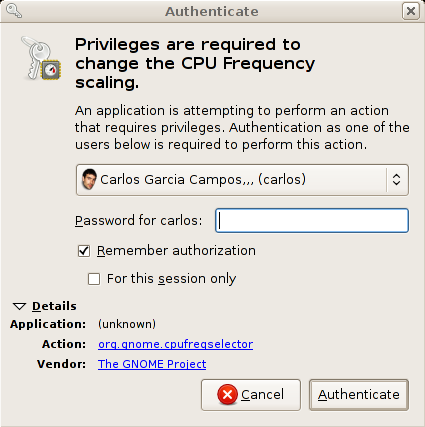 PolicyKit-gnome authentication dialog
