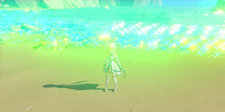 Screenshot of the gameplay with body of water that has large colorful artifacts