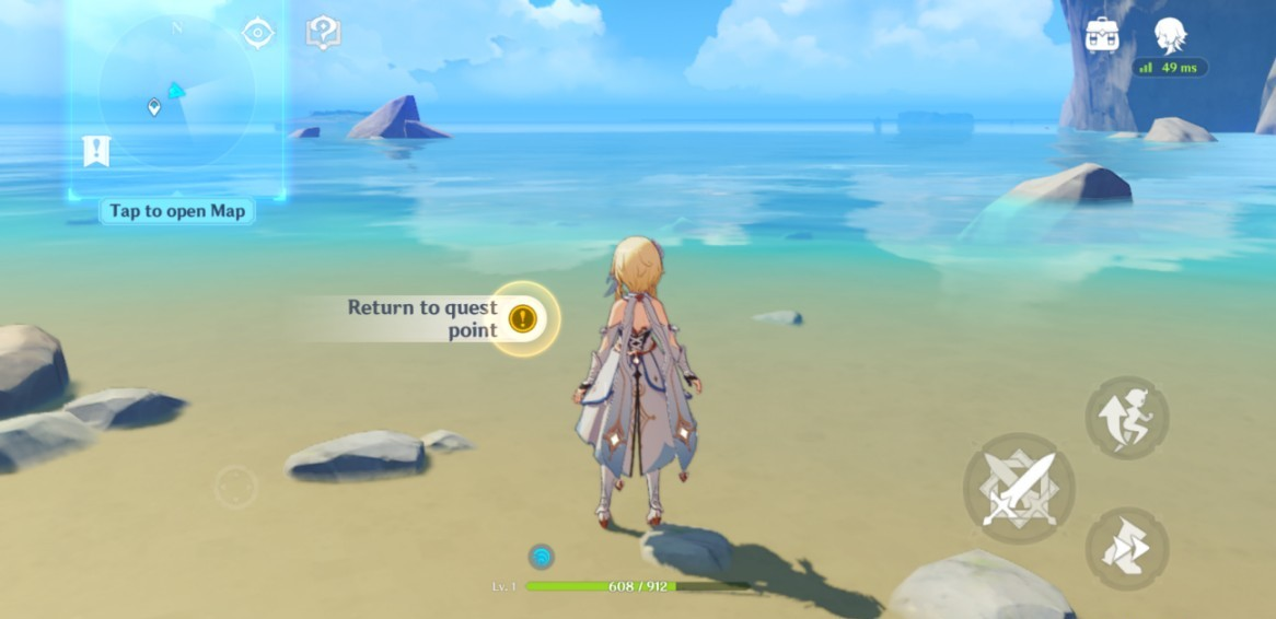 Screenshot of the gameplay with body of water without artifacts