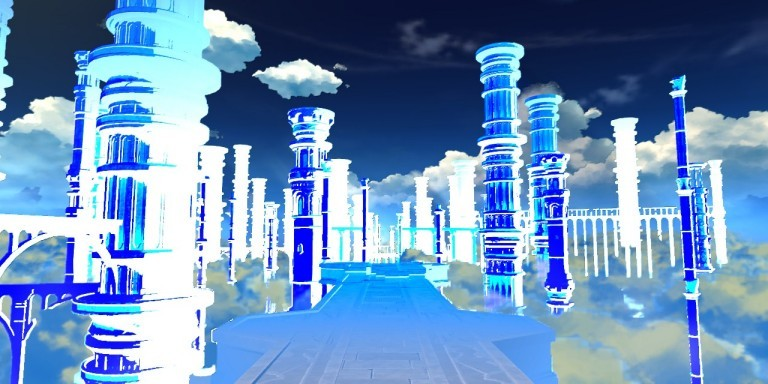 Screenshot of a login screen in Genshin Impact which has wrong colors - columns and road are blue and white