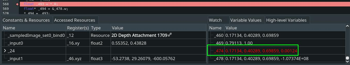 Screenshot of the color value calculated on CPU by RenderDoc