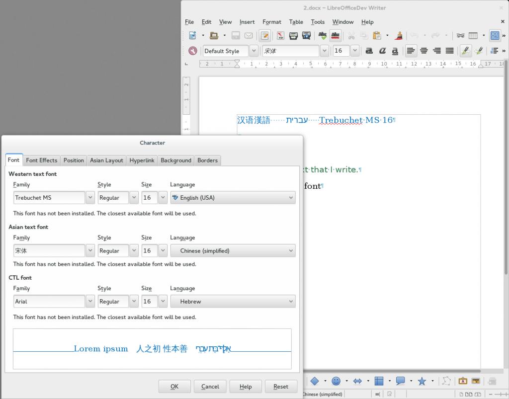 LibreOffice font selector