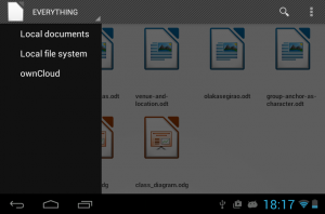 Side drawer in Android document browser