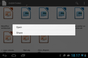 Context menu in Android document browser