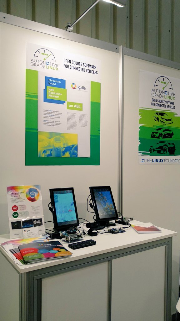 Igalia stand showing the AGL web runtime