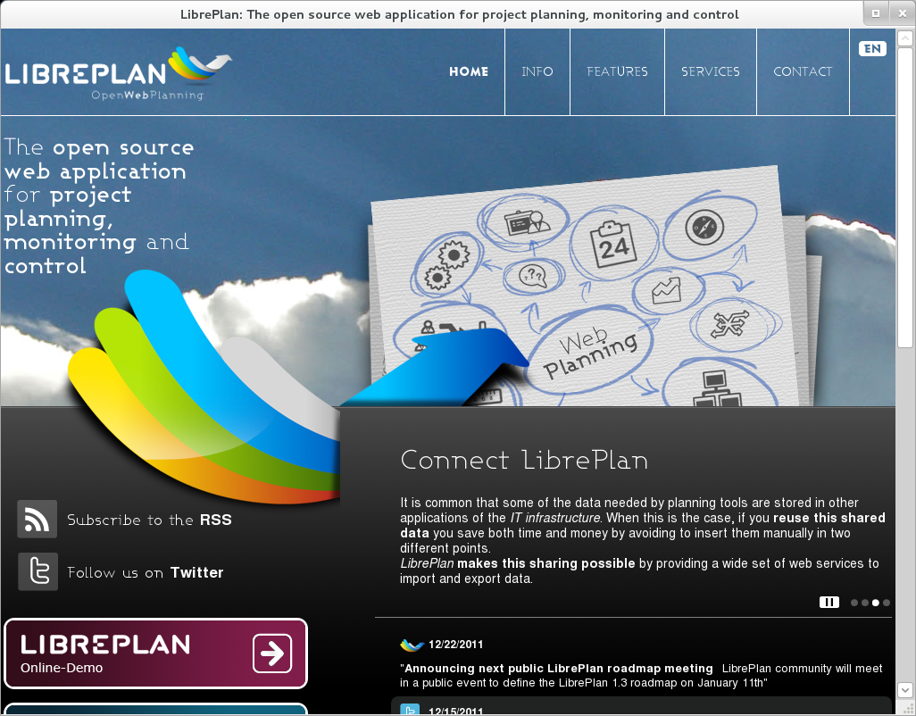 LibrePlan website frontpage