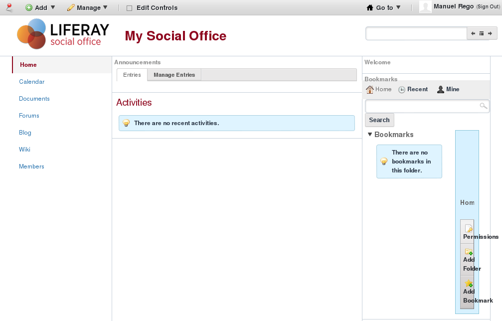 Liferay Social Office home page