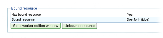 Bound resource information in user editing window