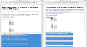Example of selection performance in a document with and without CSS Regions in WebKitGTK+