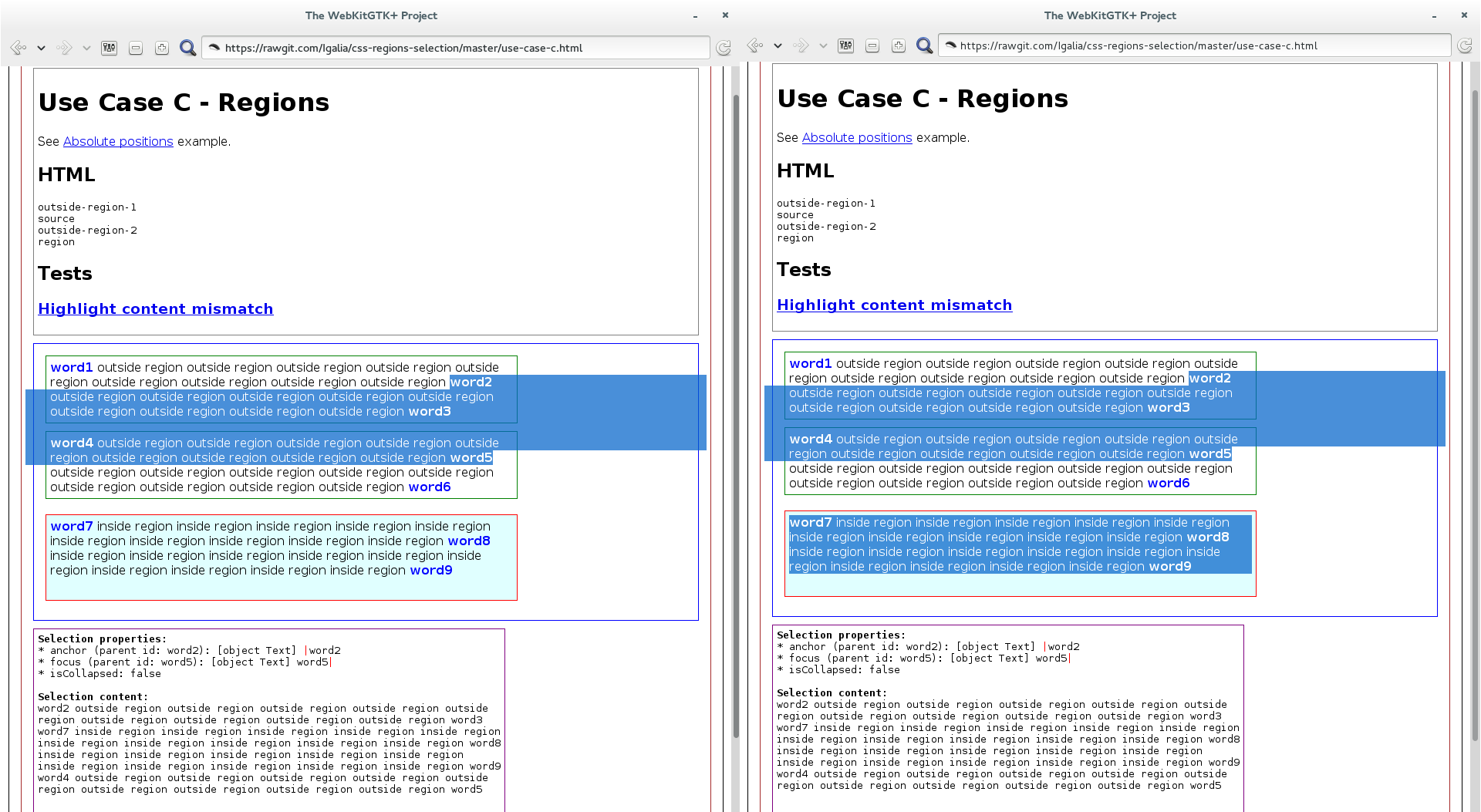 Example of selection in CSS Regions before and after the Subtrees approach patch