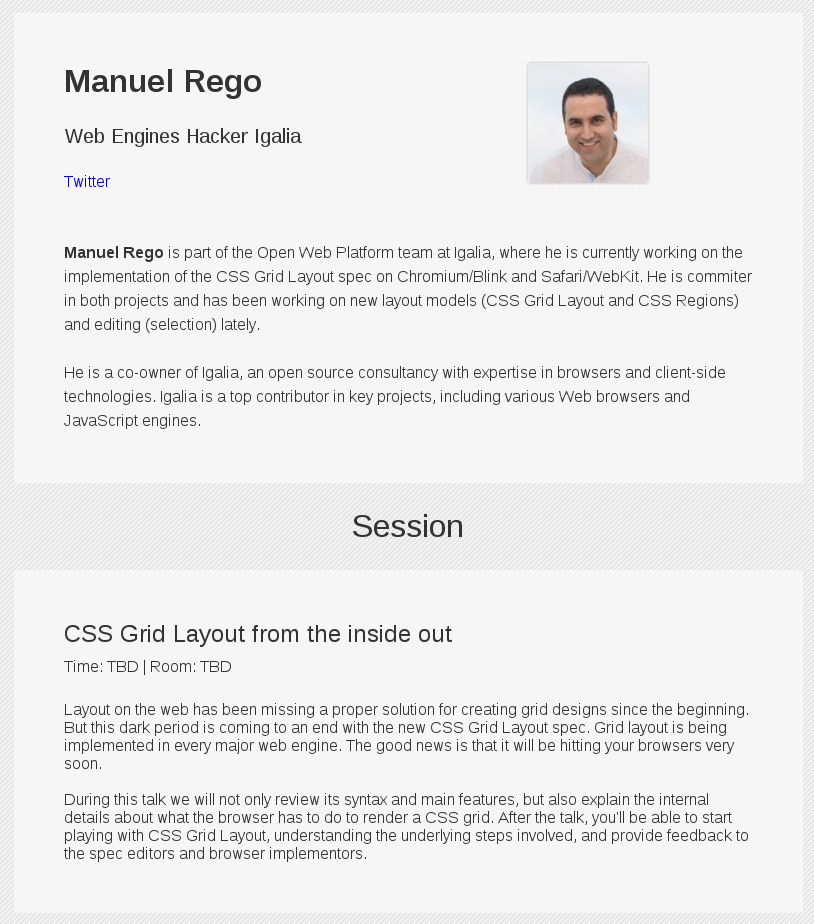 My talk announced at the HTML5DevConf website
