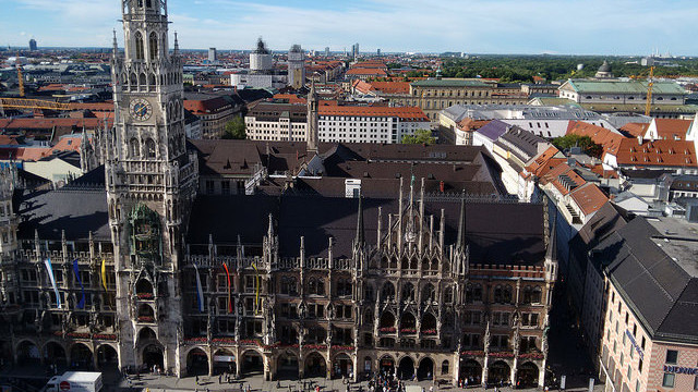 Munich's Town Hall from from the Tower of St. Peter's Church