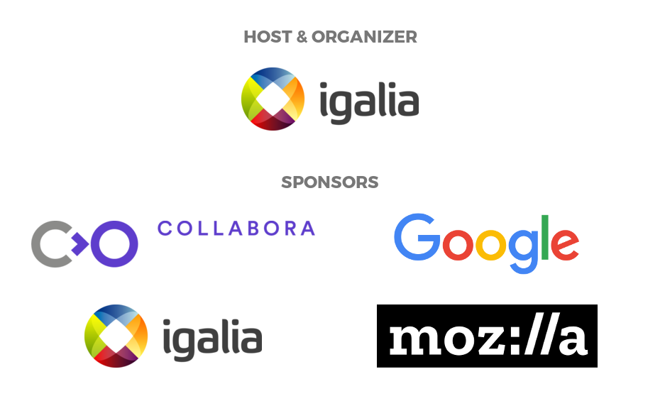 Web Engines Hackfest 2017 sponsors: Collabora, Google, Igalia and Mozilla