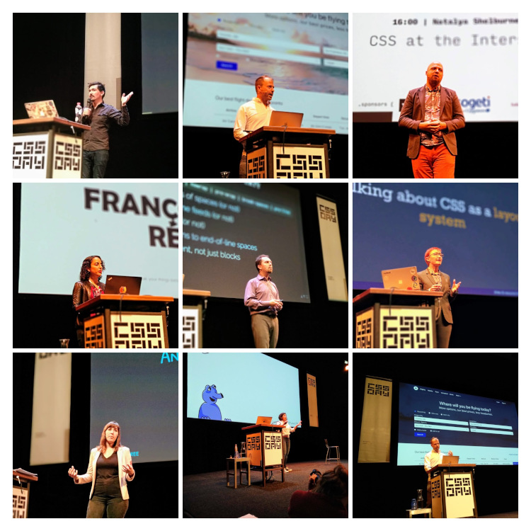 Pictures of speakers and MC at CSS Day 2019