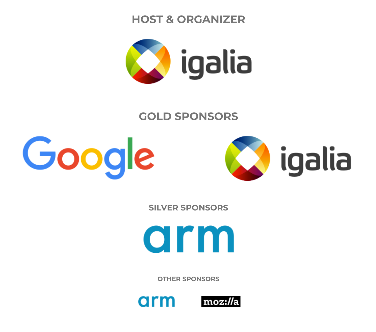 Web Engines Hackfest 2019 sponsors: Google and Igalia