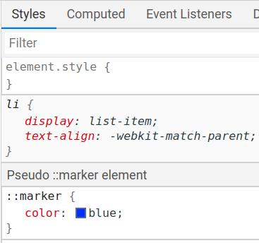 Devtools ::marker styles