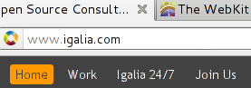 Firefox showing in bold font the URL base domain